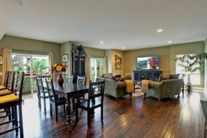 Open floor plan with hardwood floors